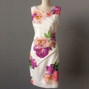 Cream Floral Sheath Dress